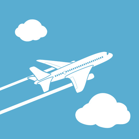 plane vector: Plane silhouette against the sky with clouds. Vector image. Illustration