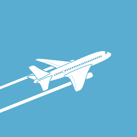 Plane silhouette against the sky. Vector image.