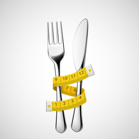 cinta de medir: Tenedor y cuchillo atado cinta métrica. Vector imagen. Vectores