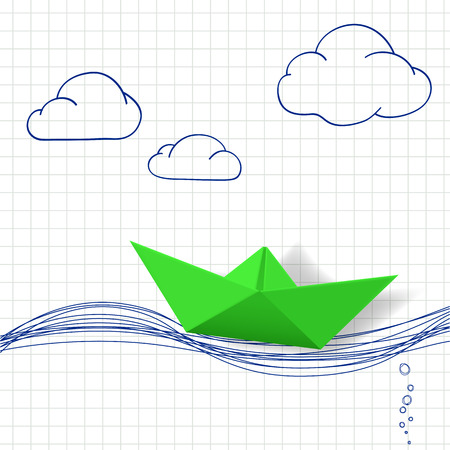 decorate notebook: Paper boat and painted waves. Vector image.