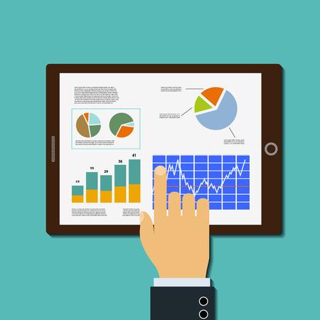 Finanzdiagramme auf Tablet-Bildschirm. Finanzanalyse. Vektorgrafik.