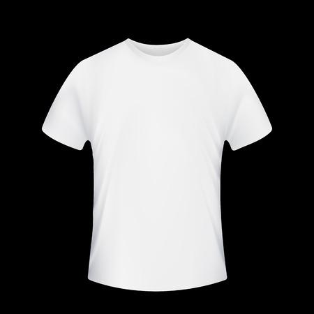 흰색 T 셔츠. 검은 배경에 고립. 주식 벡터.