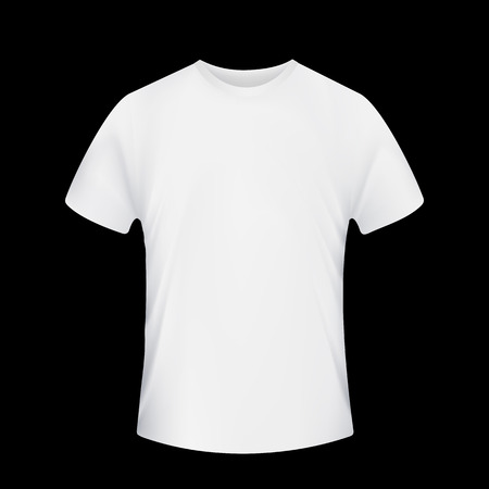 white shirt: White T-shirt. Isolated on a black background. Stock Vector.