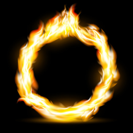 dangling: Burning ring. Texture fire isolated on a black background. Stock Vector.