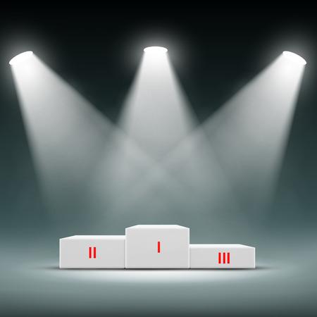 triunfador: Podio para los ganadores. Ceremonia de premiación. Imagen vectorial Stock.