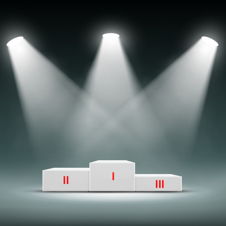 to place: Podium for the winners. Awards Ceremony. Vector Image Stock.