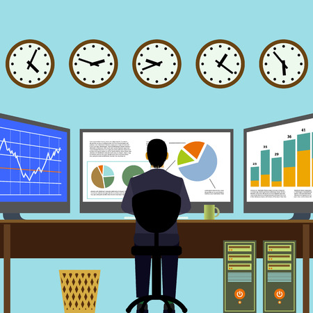 information symbol: Broker sitting at workplace. Financial analysis. Graphs and charts on the monitor. Vector Image Stock.