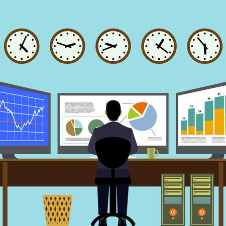 Broker zitten op de werkplek. Financiële analyse. Grafieken en diagrammen op de monitor. Vector Image Stock. Stockfoto - 40912870