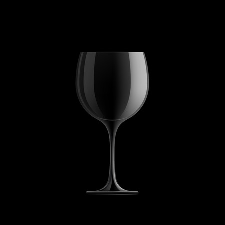 sommeliers: Empty wine glass isolated on black background