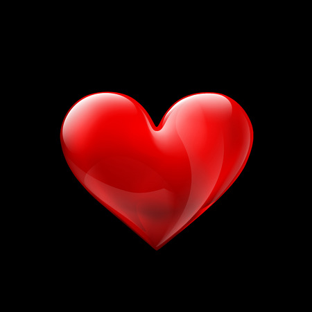 heart background: Red glass human heart isolated on a black background