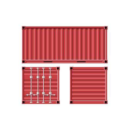 Metal cargo container. Vector image.