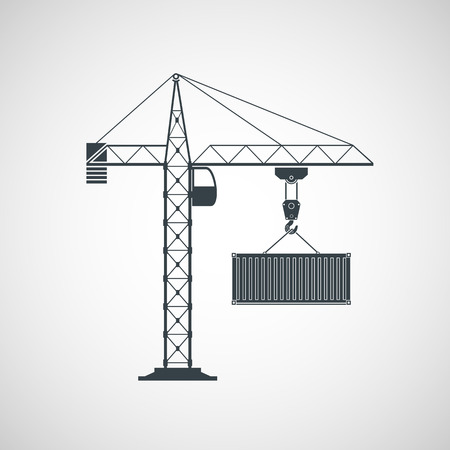 unloading: The crane lifts the container. Vector image.