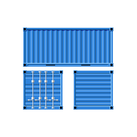 container freight: Metal cargo container. Vector image.
