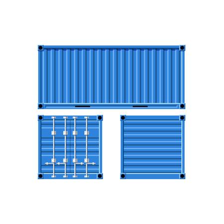 dockyard: Metal cargo container. Vector image.