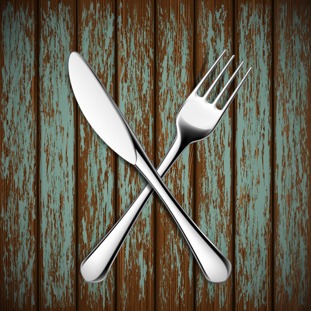 banquet table: Fork and knife lying on a wooden table. Vector Image.