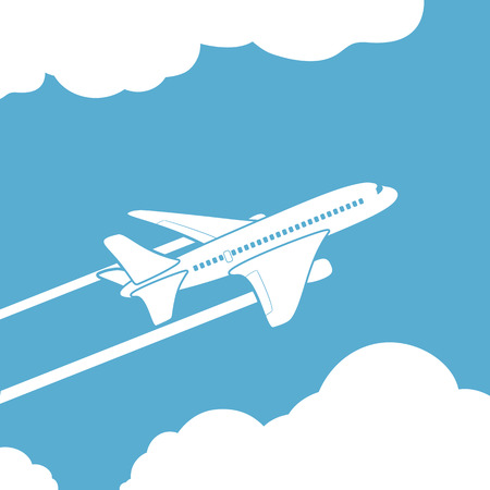 Plane silhouette against the sky with clouds. Vector image. Stock Illustratie