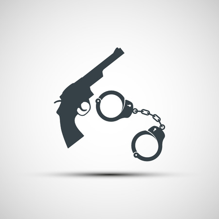 detainee: Gun and handcuffs. Vector image.