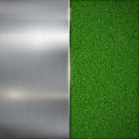 carpet clean: Metal plate on the lawn. Vector image.