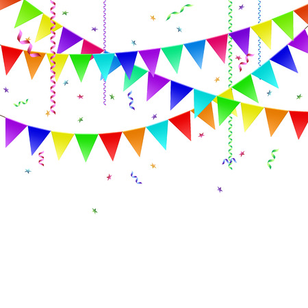 Garlands with flags, streamers and confetti. Vector image. Vector