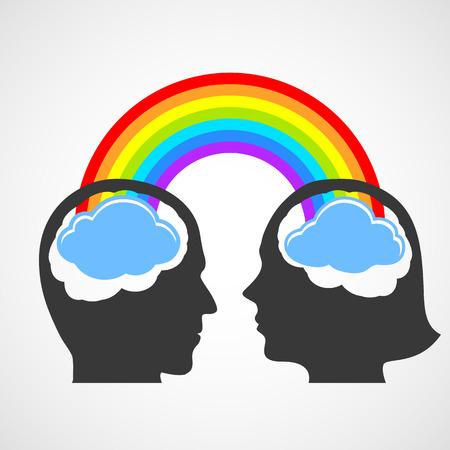 inteligible: Silueta de la cabeza del hombre y de la mujer. Vector imagen.