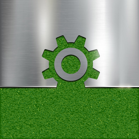 industrialization: Contour gear on grass background. Vector image.