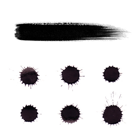 black ink: Splashes black ink on a white background