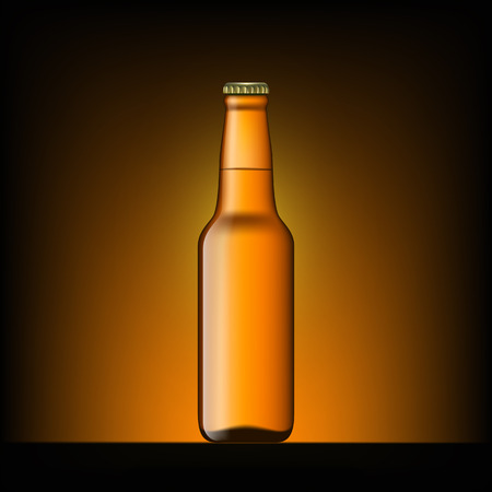 amber light: Brown bottle of beer on the dark background