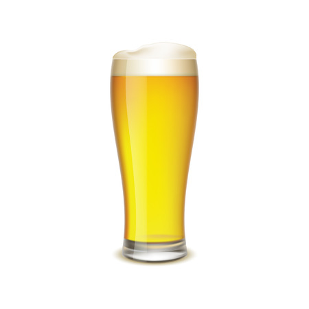yellow to drink: Glass of beer isolated on white background Illustration