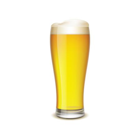 vasos de cerveza: Vaso de cerveza aisladas sobre fondo blanco Vectores