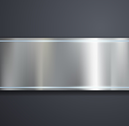 stainless: A metal plate on a gray background. Vector image. Illustration