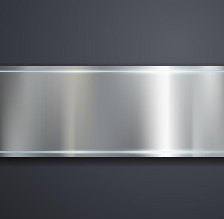 Una placa de metal sobre un fondo gris. Vector imagen.