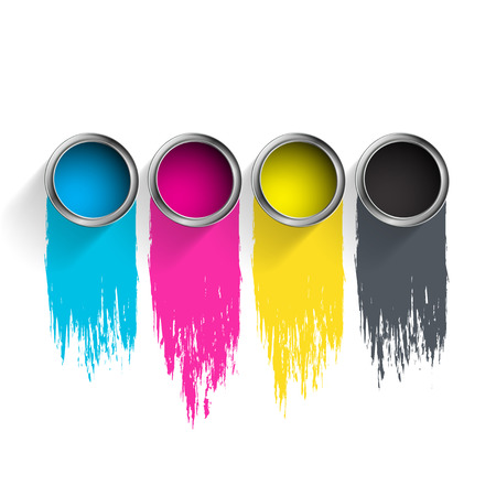 red color: Bucket of paint CMYK. Vector image.