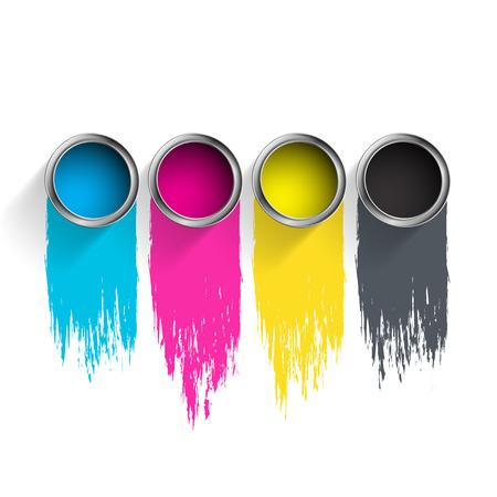 Bucket of paint CMYK. Vector image.