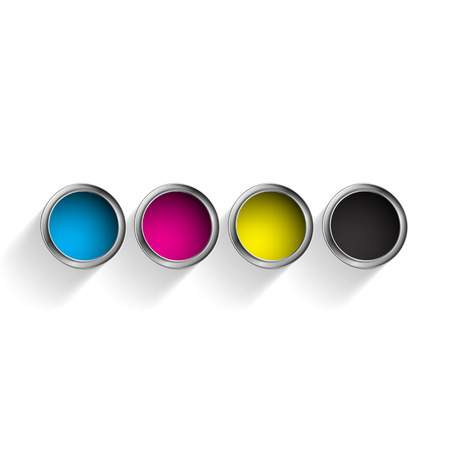 cmyk abstract: Bucket of paint. Vector image.
