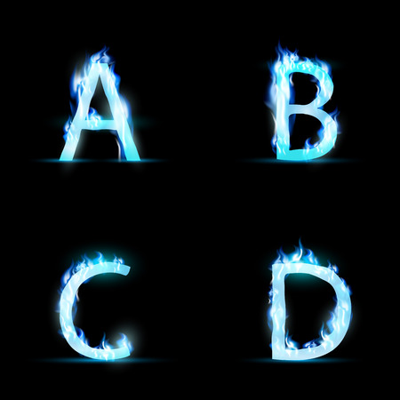 flame letters: Set of letters in blue flame. Vector Image.