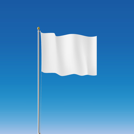 White flag on the flagpole. Vector Image.