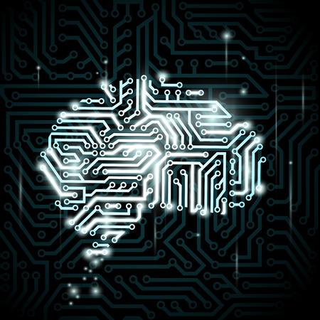 inteligencia: Cerebro humano en forma de circuitos. Vector imagen.