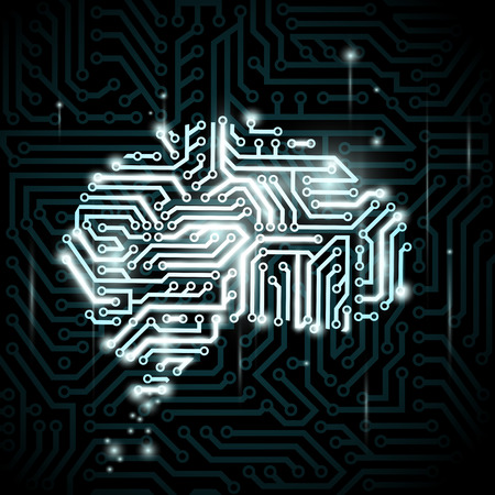 Human brain in the form of circuits. Vector image. Çizim
