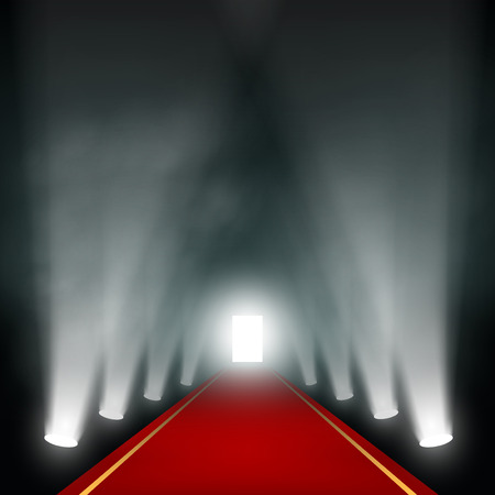 red star: Light at the end of the corridor. Vector image. Illustration