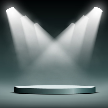 Round podium illuminated spotlights. Vector image.