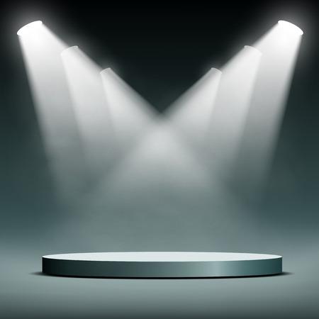 Round podium illuminated spotlights. Vector image.
