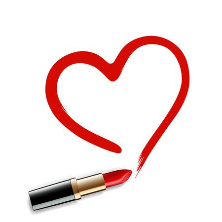 심장 빨간 립스틱을 그려. 벡터 이미지입니다.