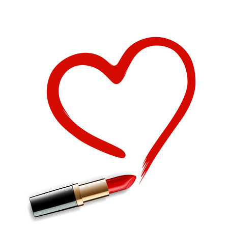 Heart drawn red lipstick. Vector image. Illustration