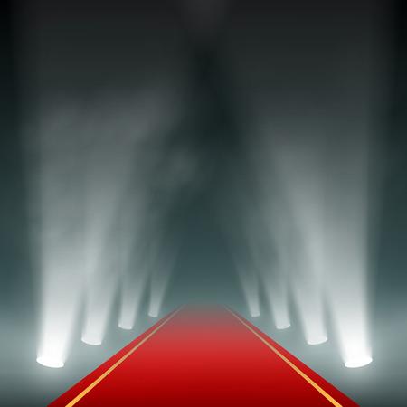 luz roja: Linternas iluminan la alfombra roja. Vector imagen. Vectores