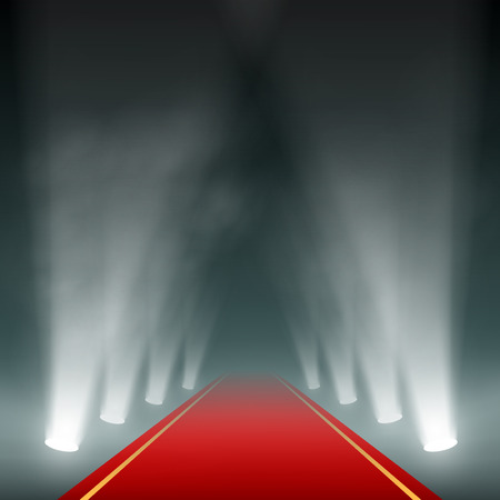 Lanterns illuminate the red carpet. Vector image.