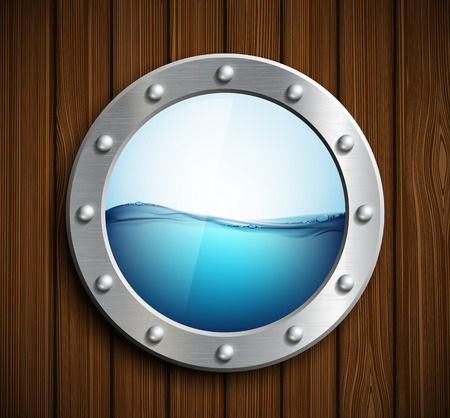keel: Round porthole on a wooden surface. Vector image.