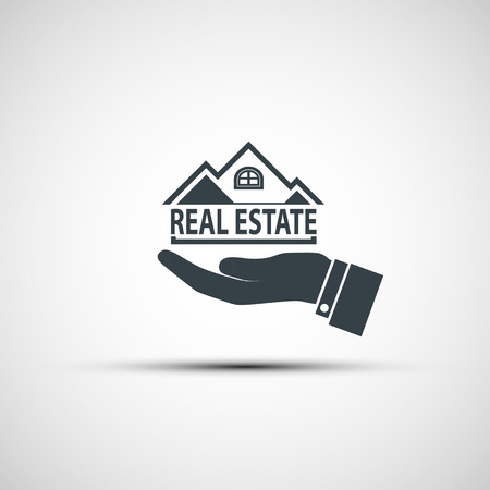 realestate: Hand holds the house. Vector image.