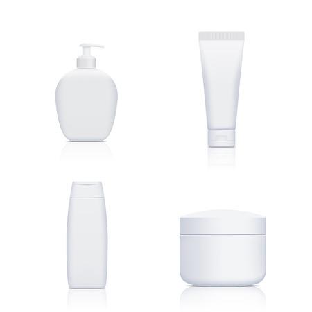 Set van containers met cosmetica geïsoleerd op een witte achtergrond. Vector beeld. Stockfoto - 40918149