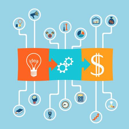 communication tools: Scheme profit. Business success. Flat graphics. Stock Vector Image.
