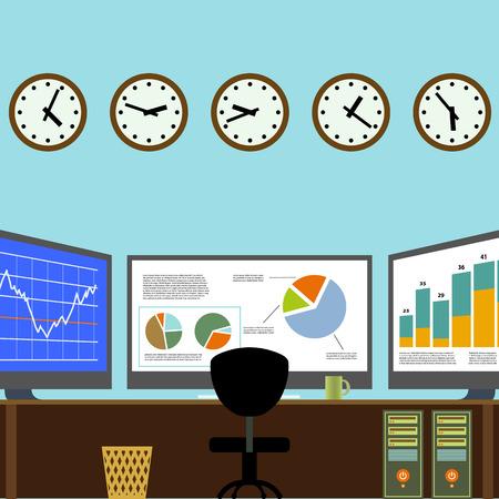 agente comercial: Corredor del lugar de trabajo. Centro Analítico. Cambio de Trading. Imagen vectorial stock.